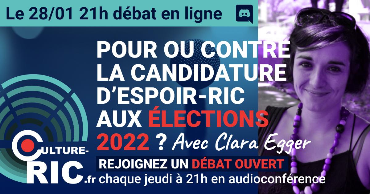 On débat d'ESPOIR-RIC le jeudi 21/01 à 21h avec Culture RIC