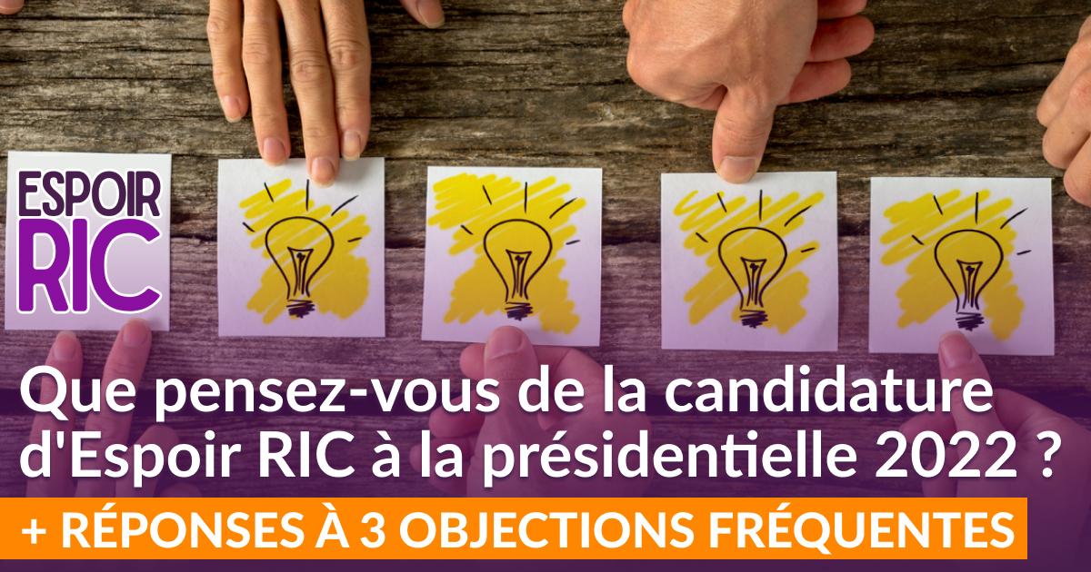 Que pensez-vous de la candidature d'Espoir RIC à la présidentielle 2022 ?